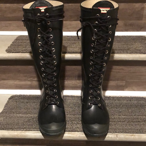 Hunter Lace Up Rain Boots Authentic
